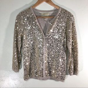Sanctuary gold sequin cardigan size small